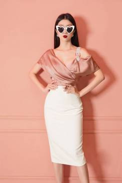 Đầm trắng phối phi hồng dây vai lấp lánh # 2194