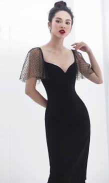 Đầm đen tay lưới thiết kế ôm sát tinh tế # 2197