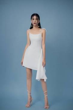 Đầm trắng 2 dây bèo hông thiết kế tôn dáng # 2199