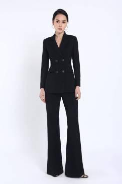 Bộ đen áo vest tay dài 4 nút quần suông # 2203