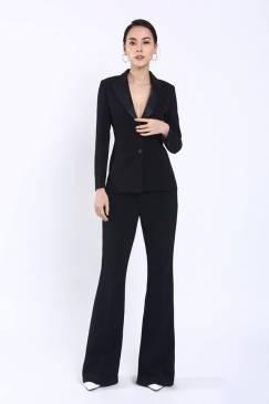 Bộ đen áo vest tay dài 2 nút quần suông # 2204
