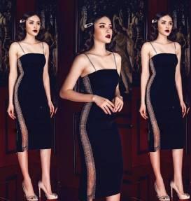 Đầm đen nhung 2 dây phồi xích bên hông # 2201