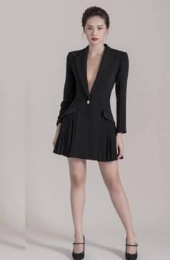 Đầm vest đen tay dài xếp ly bên hông thiết kế sang trọng # 2206