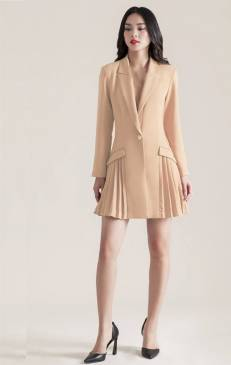 Đầm vest da tay dài xếp ly hông thiết kế sang trọng # 2206