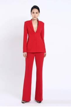 Bộ đỏ áo vest 2 nút tay dài quần suông # 2204