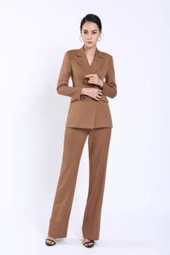 Bộ nâu áo vest tay dài 4 nút quần suông # 2203