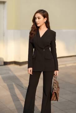 Bộ đen áo vest tay dài quần suông # 2211