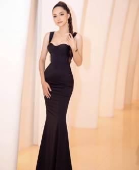 Đầm dạ hội đuôi cá đen 2 dây thiết kế sang trọng # 2208