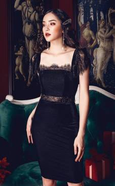 Đầm nhung đen phối ren thiết kế tinh tế # 2209