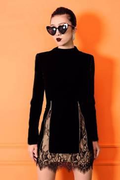 Đầm nhung đen tay dài phối lưới thiết kế tinh tế # 2207