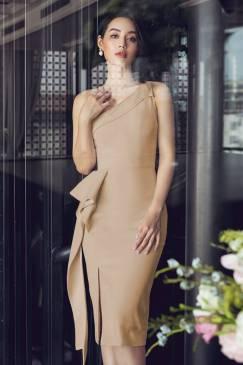 Đầm da đậm lệch vai xẻ đùi bèo hông # 2212
