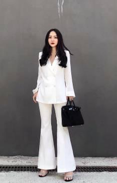 Bộ trắng áo vest tay dài quần loe thiết kế sang trọng # 2214