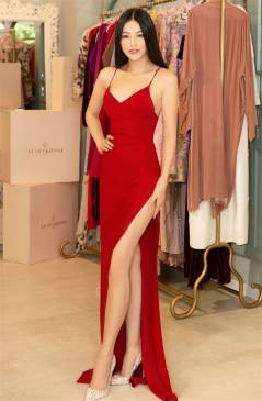 Đầm dạ hội đỏ 2 dây xẻ cao bên sườn # 2227