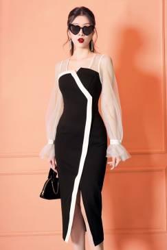 Đầm đen pha trắng tay dài lưới thiết kế tinh tế # 2228