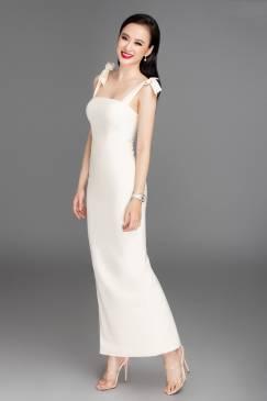Đầm dài trắng cúp ngực 2 dây cột nơ # 2229