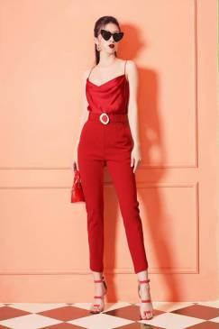 Bộ đỏ áo phi 2 dây quần ôm kèm thắt lưng # 2188