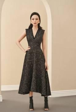 Đầm xòe bố đen cổ V thiết kế sang trọng # 2231