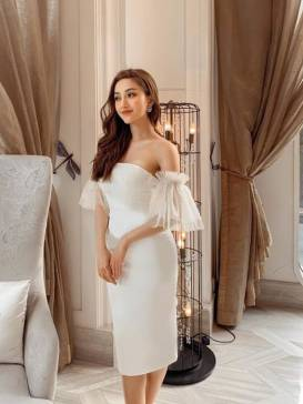 Đầm trắng cúp ngực tay lưới thiết kế tinh tế # 2232