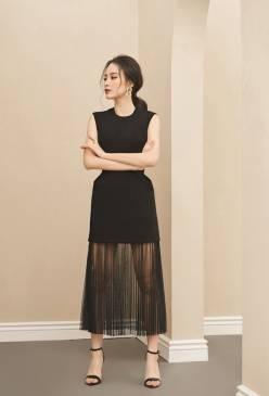Đầm đen sát nách cổ tròn lai phối lưới dập ly # 2233