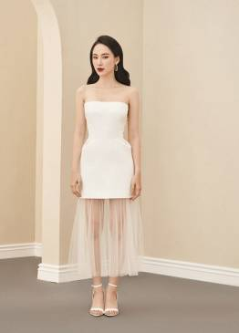 Đầm trắng cúp lai phối lưới xếp ly thiết kế tinh tế # 2234