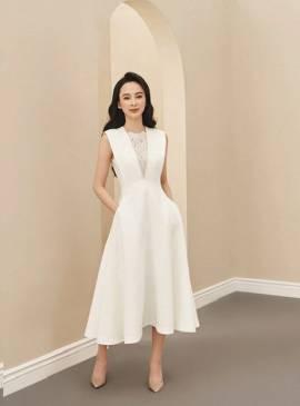 Đầm trắng xòe cổ V pha ren thiết kế sang trọng # 2240