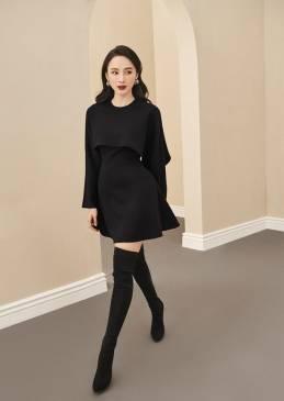 Đầm đen xòe tay dài thiết kế tinh tế # 2242