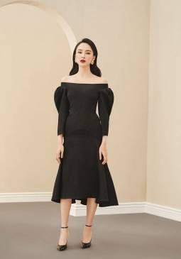 Đầm đen vai ngang tay phồng thiết kế tinh tế # 2243