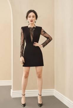 Đầm đen pha ren tay dài thiết kế tôn dáng # 2250