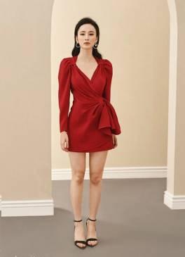 Đầm đỏ tay dài xếp nơ eo thiết kế tinh tế # 2253
