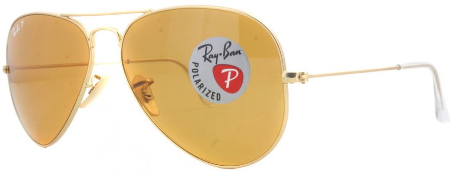 Ray Ban 3025 Polarized Matte Gold Yellow - RB 3025 112/06 P