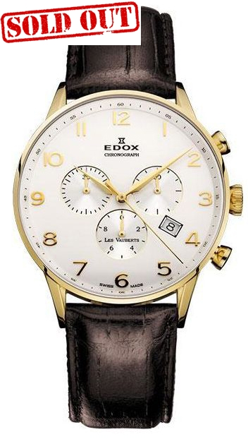 Edox Les Vauberts chronograph quartz gold leather straps 10408-37JA-ABD
