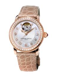 Frederique Constant Heart Beat Mother of Pearl Diamond Dial Beige Leather Ladies Watch FC-310HBAD2PD