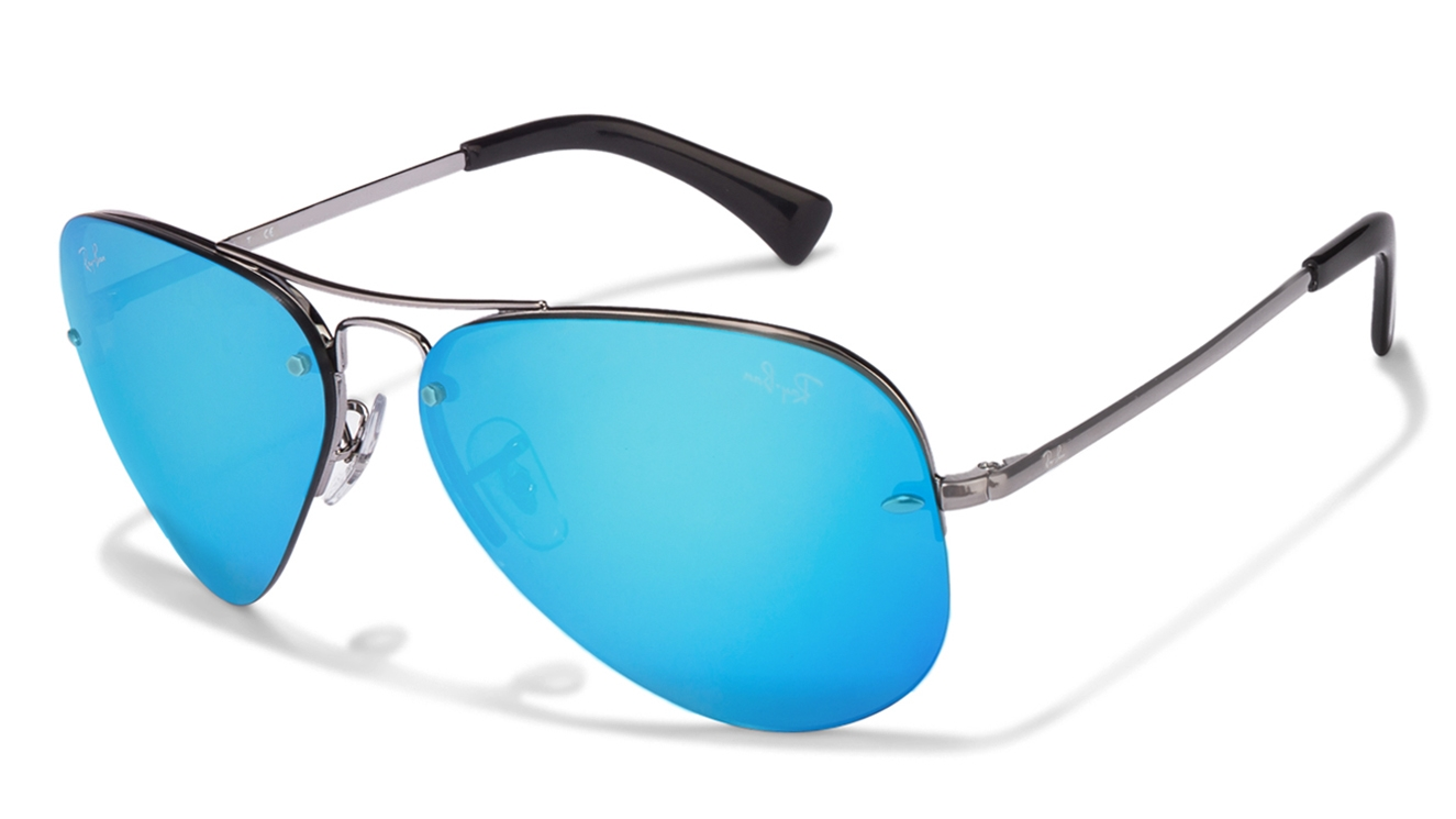 Ray Ban 3449 Gunmetal Blue Mirror Aviator 344 004/55 size 59]