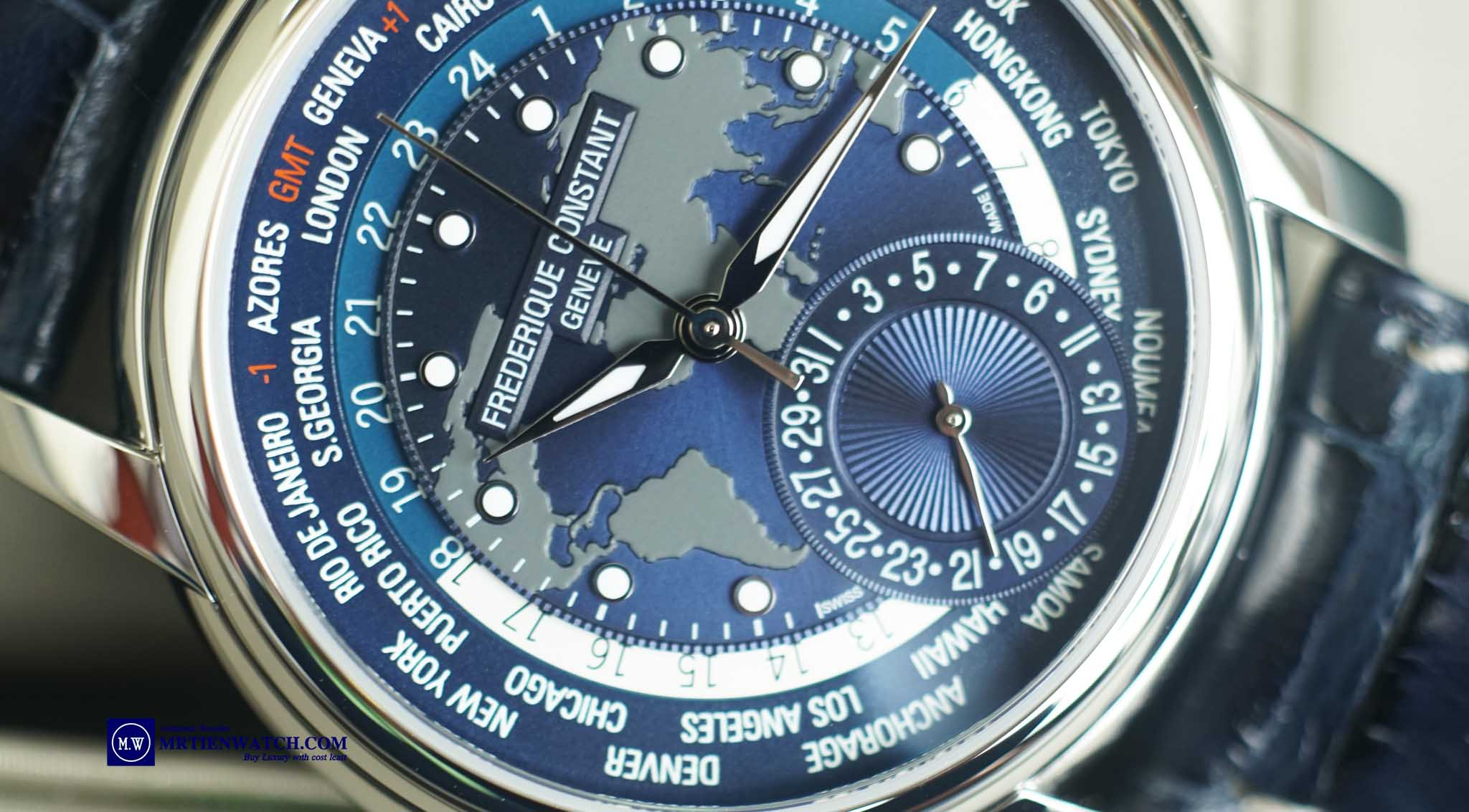 Frederique Constant Manufacture Worldtimer Blue Navy Dial FC-718NWM4H6