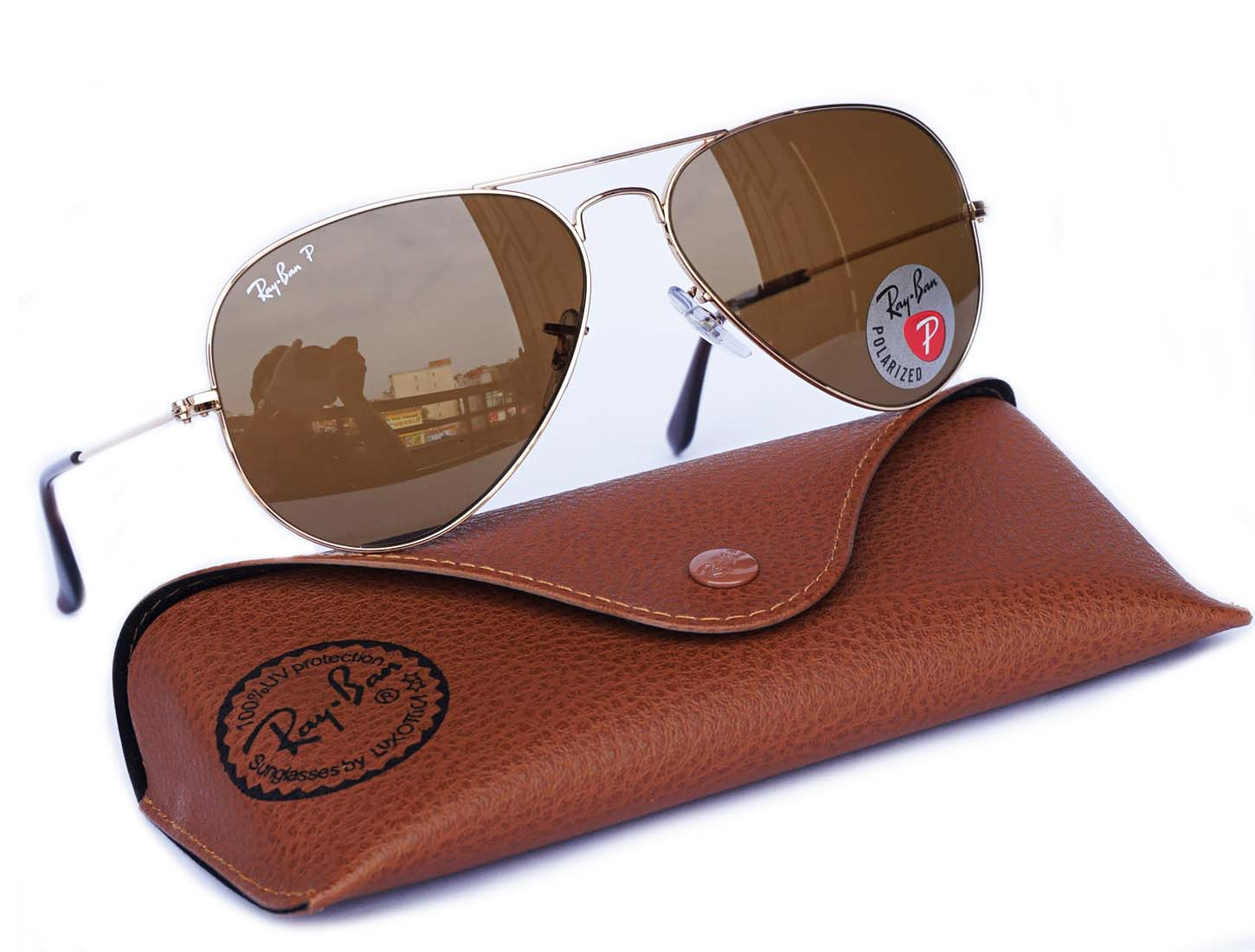 Ray Ban 3025 Aviator polarized gold brown RB 3025 001/57 size 62