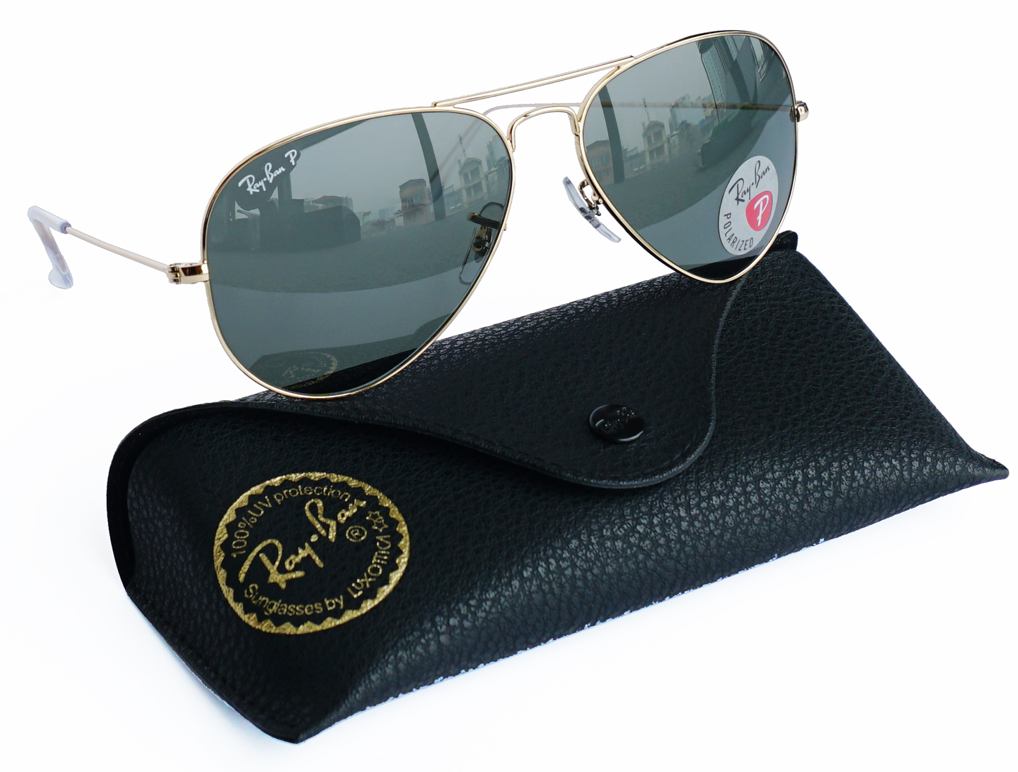 RB 3025 Large metal gold green polarized - RB 3025 L 001/58 P