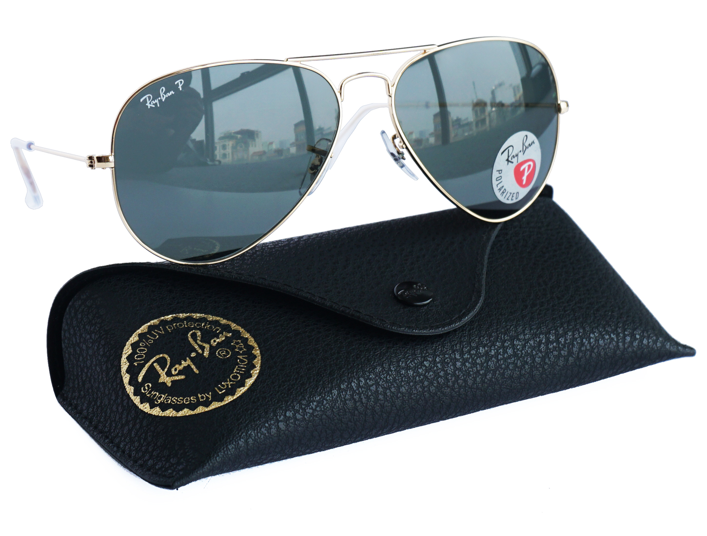 Ray-Ban 3025 Aviator Polarized Gold Green RB 3025 001/58 size 58