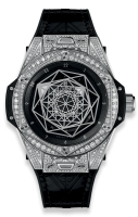 HUBLOT SANG BLEU STEEL PAVÉ DIAMONDS SIZE 39MM 465.SS.1117.VR.1704.MXM18