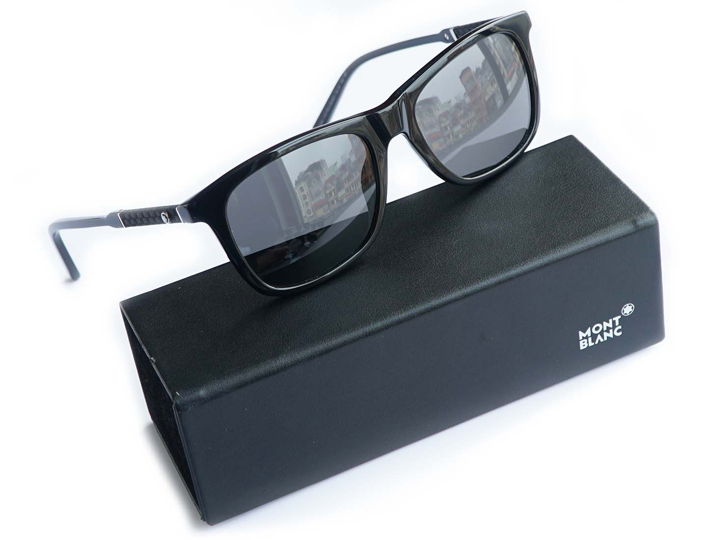 MONTBLANC Polarized Grey Square Sunglasses MB606S 01D]