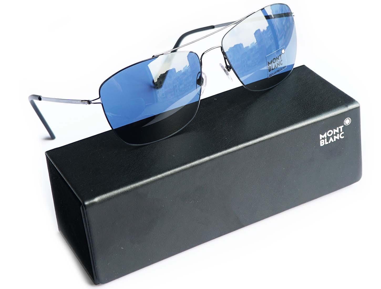 MONTBLANC Blue Square Sunglasses MB594S 08V]