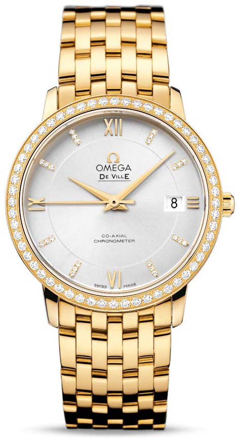 OMEGA DE-VILLE PRESTIGE Co-Aixial Yellow Gold Leather Strap 424.55.37.20.52.002 36.8 MM