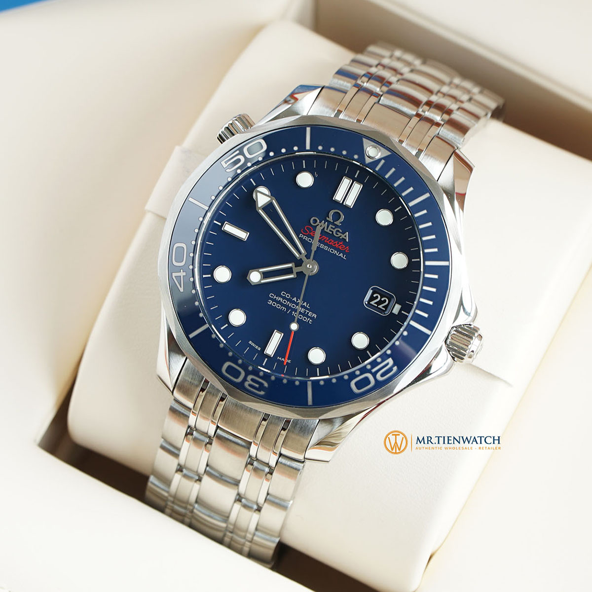 Omega Seamaster Diver 300m Chronometer Co-Axial Blue Stainless Steel 212.30.41.20.03.001