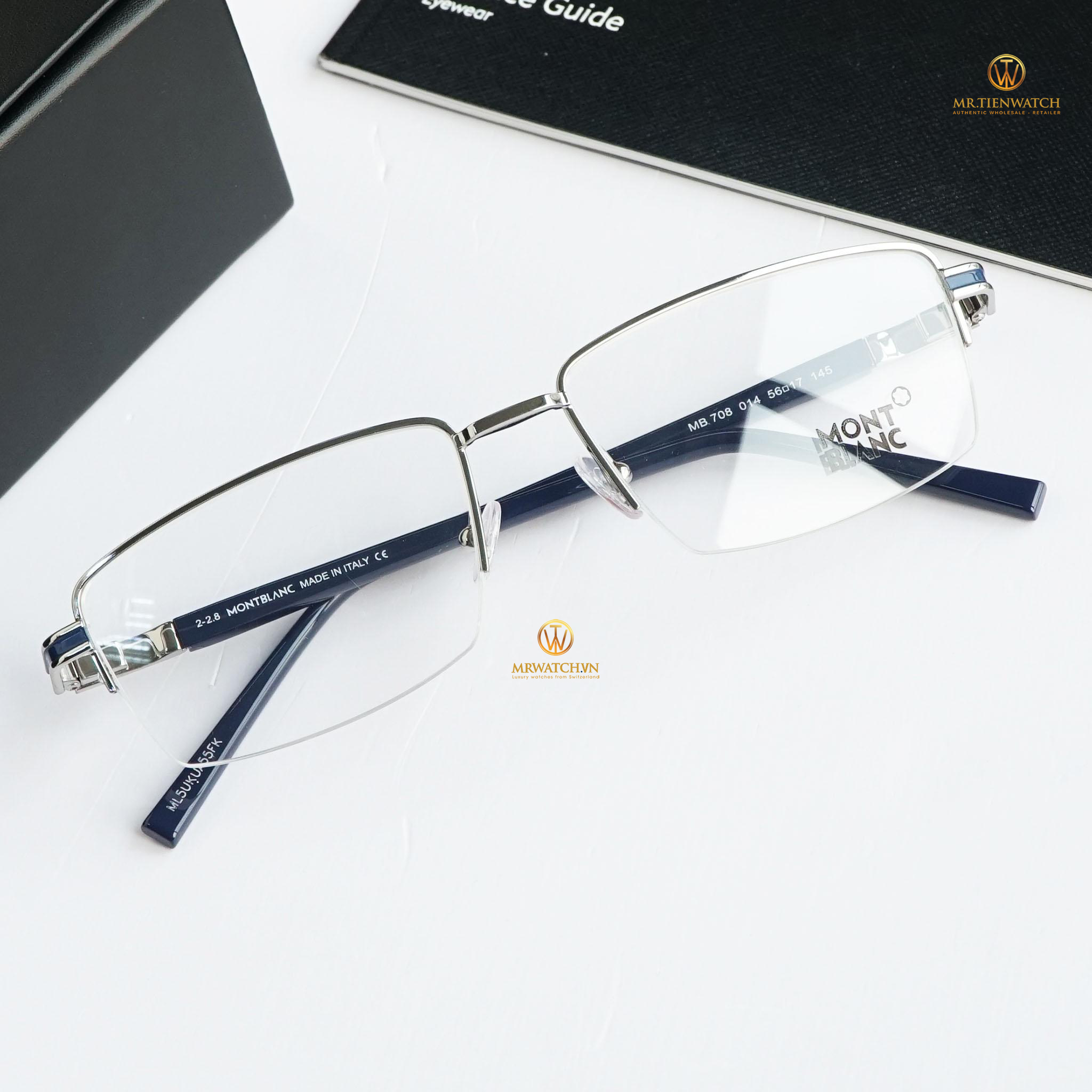 Montblanc Semi-Rimless Eyeglasses MB708 014 Palladium/Blue 56mm 708]
