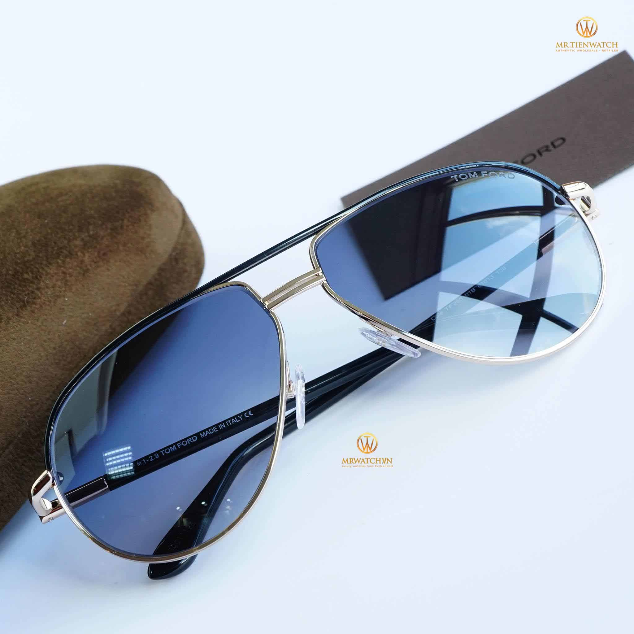 Tom Ford 2016 Aviator 0285 black gold light blue - TF FT 0285 01B