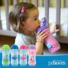 Bình uống nước cách nhiệt ống hút Silicone nhiều màu Dr Brown's 300ml nhựa PP
