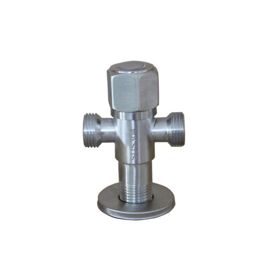 Van T chia 2 đường nước có khóa giảm áp Inox SUS 304