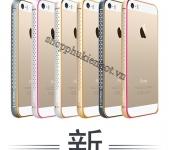 Ốp viền nhôm CotЄetcl bo tròn đính đá cho iPhone 5,5s