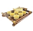 Bộ ấm chén 350ml kèm khay tre Bát Tràng-03 (Vàng)