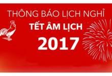 Thông Báo Nghỉ Têt Âm Lịch 2017