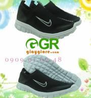 Giày chạy bộ Nam không dây đen trắng CB079